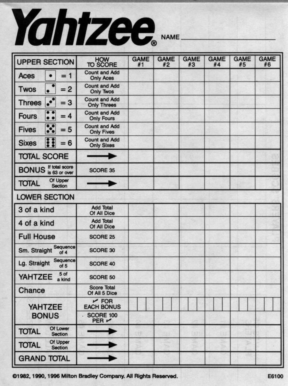 Printable yahtzee score sheets for yum | windows | download that